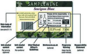 Unit of alcohol - Example of Wine Bottle label in accordance with UK voluntary health labelling scheme