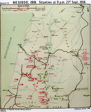 Battle of Samakh - Falls Map 33 Megiddo Situation at 21:00 21 September 1918 Sea of Galilee shown as Lake Tiberias