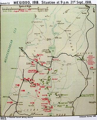 Battle of Samakh - Falls Map 33 Megiddo Situation at 21:00 21 September 1918 Sea of Galilee shown as Lake Tiberias