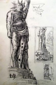 Black and white ink sketch showing three versions of the Colossus