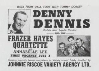 Fraser Hayes Four - Publicity poster for Denny Dennis, the group's original backer,  and the Fraser Hayes Quartet c1950.