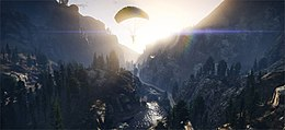 The player character parachuting in a mountainous valley. Light particles, reflections and shadow effects are clearly visible.
