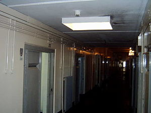HM Prison Maze - A view along the corridor of one of the wings of H4