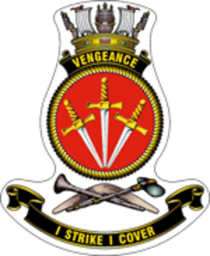 HMS Vengeance (R71) - Ship's badge for Vengeance, in the RAN format