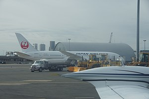 2013 in the United States - January 16: The grounded Japan Airlines 787 at Bosto CV biuhfuyn Logan Airport