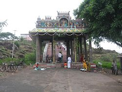 A view of the temple mandap at foot hill along with steps