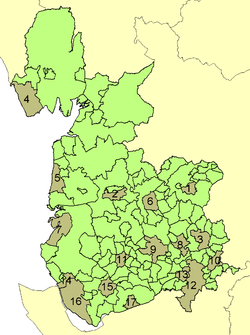 Lancashire in 1961 with districts shown and county boroughs marked