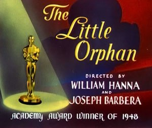 The Little Orphan - The reissue title card of The Little Orphan, featuring the Academy Award Oscar