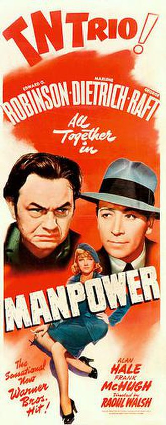 Manpower (1941 film) - Theatrical release poster