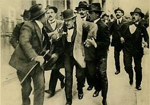 1915 in Italy - Rome, April 11, 1915: Benito Mussolini is arrested after an interventionist rally