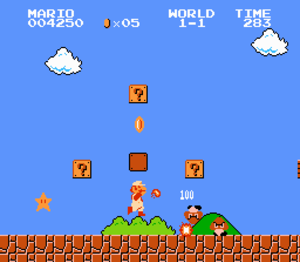 Super Mario - The first ''Super Mario'' game's gameplay involved jumping on enemies and moving to the right as the screen scrolled.