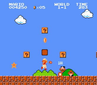 Super Mario Bros. - Screenshot of Super Mario Bros. where Mario adventures throughout the Mushroom Kingdom, revealing an invincibility star and shooting fireballs after having picked up a Fire Flower.