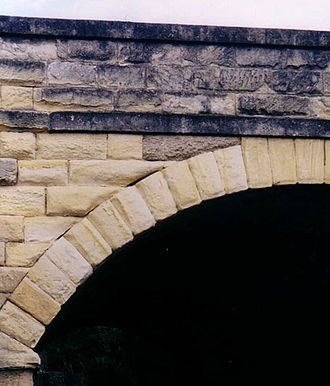 Oamaru stone - Oamaru stone is used on many of Otago's older structures, like this bridge arch in Oamaru.
