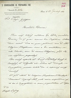 Pontifical College Josephinum - Pope Leo XIII granted pontifical status to the Josephinum with this hand-written, Latin letter in 1892.