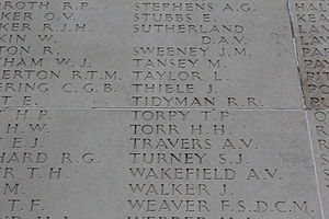 Bob Tidyman - Roll of Honour at the AWM, Villers-Bret