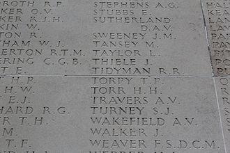 Bob Tidyman - Roll of Honour at the AWM, Villers-Bret
