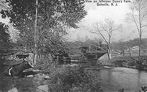 Paulins Kill - A vintage postcard view of the Paulins Kill at Baleville, in Hampton Township, New Jersey, circa 1905.  The Paulins Kill is a calm, slow-flowing river, without significant disturbance or rapids, and looks much like this view for all of its length.