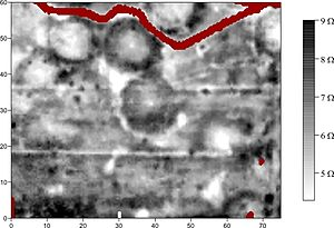 geophysical image depicting the subsurface archaeological footprint of Pawnee earth lodges and associated features
