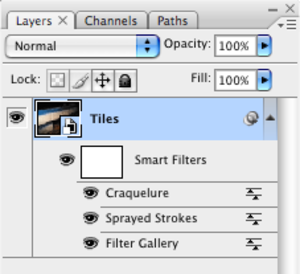 Adobe Photoshop - Smart Objects display filters without altering the original image (here on Mac OS X)