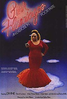 "An obese drag queen stands center stage, holding a gun as the title is above her, with the tagline ""An exercise in poor taste"""