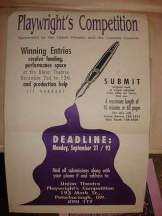 Union Theatre (Peterborough) - Image: Playwright comp Sept 92