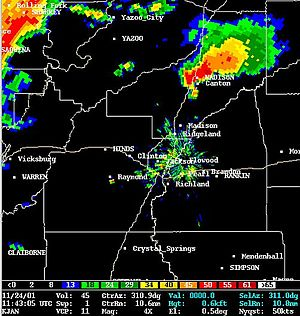 Tornado outbreak of November 23–24, 2001 - Radar shot of the Madison supercell just before 5:00 AM CDT (NWS Jackson)