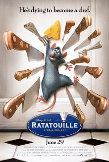 "Protagonist Remy is smiling nervously as he clings to a piece of cheese while he is pinned to a door by sharp knives and forks. The film's tagline, ""He's dying to become a chef"", is displayed along the top. A logo with the film's title and pronunciation is shown at the bottom, with the dot on the 'i' in ""Ratatouille"" doubling as a rat's nose with whiskers and a chef's toque."