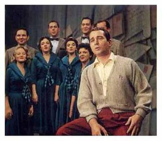 "Perry Como - Como and the Ray Charles Singers on the set of The Perry Como Show during ""Sing To Me, Mr, C."" segment, c. 1950s. Como's ""sweater era""."