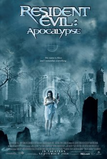 """Film poster showing the film's title with the subtext """"My name is Alice and I remember everything"""". A woman is in the center walking through a graveyard holding a gun in one hand and a white towel around her body with the other."""