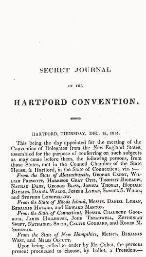 Hartford Convention - The Secret Journal of the Hartford Convention, published 1823.