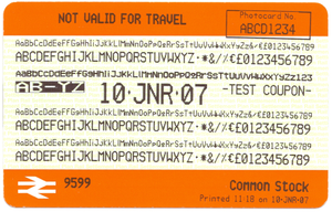 Shere FASTticket - One of the pair of test tickets produced by a machine at Huddersfield