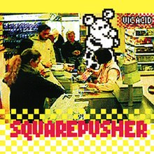 A photo of a supermarket cashier taken from above. A drawn anthropomorphic mouse is also in line for groceries. a checkerboard pattern is at the bottom of the album cover with the words Squarepusher written over it.