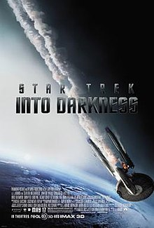 "The poster shows a flaming starship falling toward Earth, with smoke coming out of it. The middle of the poster shows the title ""Star Trek Into Darkness"" in dark gray letters, while the production credits and the release date are shown at the bottom of the poster."