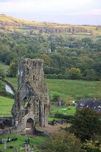 Talley Abbey - Talley Abbey from hillside.