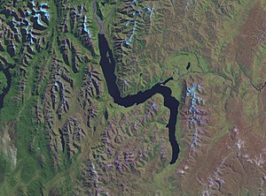 Lake Wakatipu - NASA false-colour satellite image