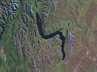 Lake Wakatipu - NASA false-colour satellite image