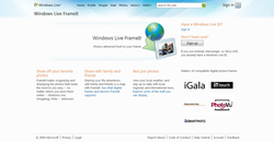 Windows Live FrameIt homepage