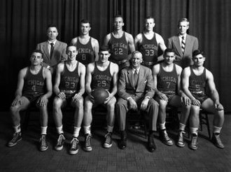 1951–52 Michigan Wolverines men's basketball team - Team portrait of the 1951–52 Wolverines Top Row (l to r): Trainer Jim Hunt, Carl Brunsting, John Codwell, Bob Topp, Phillip Webb Front row (l to r): Ray Pavichevich, Milt Mead, Jim Skala, head coach Ernie McCoy, Jack Levitt, Doug Lawrence