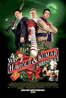Two men stand on either side of Neil Patrick Harris holding a candy cane like a gun.
