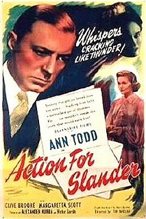 <i>Action for Slander</i> 1937 film by Tim Whelan