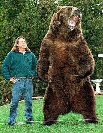 Bart the Bear - Bart the Bear with trainer Doug Seus, 1997