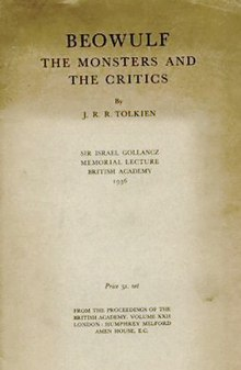 tolkien essay on beowulf The monsters and the critics is a collection of essay/lectures given by j r r tolkien the essays are: beowulf: the monsters and the critics: i realised how rusty the 'literature' part of my brain was because this was difficult for me and it's not aimed at a scholarly audience.