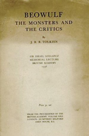 Beowulf: The Monsters and the Critics - Title page of Beowulf: The Monsters and the Critics, 1936