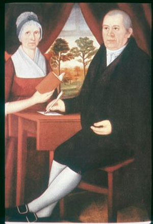 Hampton, Connecticut - A painting (ca. 1795-1800) by John Brewster Jr. of his stepmother and his father, a leader in the Hampton church and member of the Connecticut General Assembly.
