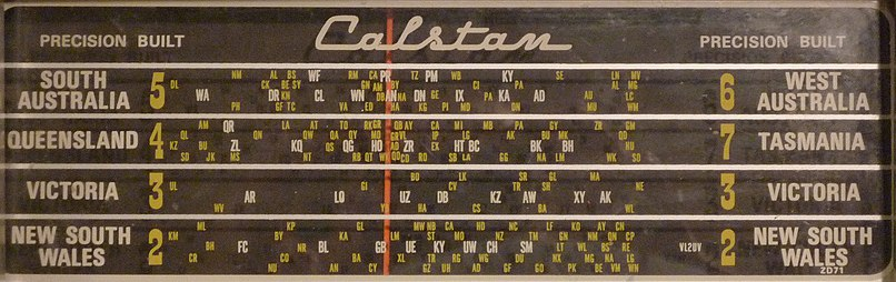 Australian radio sets usually had the positions of radio stations marked on their dials. The illustration is a dial from a transistorised, mains operated Calstan radio, circa 1960s. (Click image for a high resolution view, with readable callsigns.) Calstanradiodial.jpg