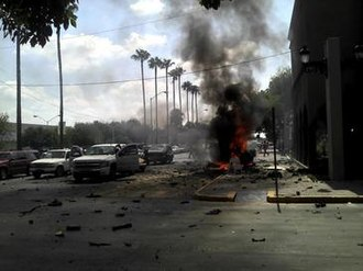 2012 Nuevo Laredo massacres - Car bomb explosion outside the city hall in Nuevo Laredo.