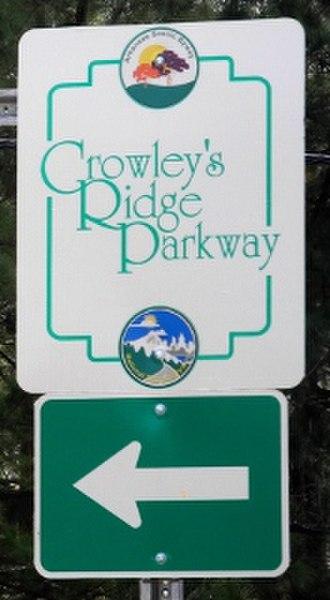 Crowley's Ridge Parkway - Image: Crowleys Ridge Scenic Byway AR sign