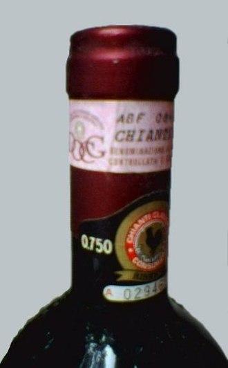 Denominazione di origine controllata - DOCG seal on a bottle of Chianti Classico Riserva 1995.
