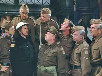 Dad's Army - The characters of Dad's Army (left to right): Privates Pike and Frazer, ARP Warden Hodges, Private Godfrey, Captain Mainwaring, Private Walker, Lance Corporal Jones and Sergeant Wilson