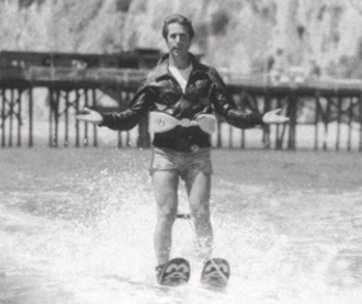 "Jumping the shark - Fonzie on water skis, in a scene from the Happy Days episode ""Hollywood, Part 3"", after jumping over a shark"
